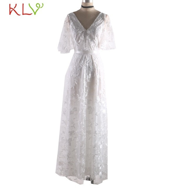 V-Neck Lace White Dress