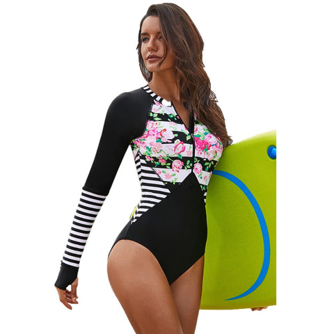 One Piece Long Sleeve Thumb hole Swimwear