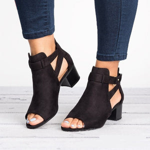 Peep Toe Women Black Pumps