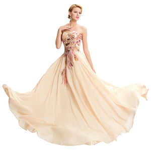 Satin Chiffon A line Strapless Dress