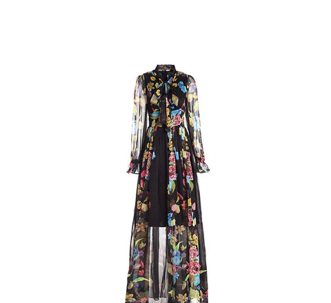 Long Sleeve Bow Collar Chiffon Flower Printed Long Dress