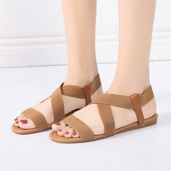 Elastic Cross Tied Band Sandals