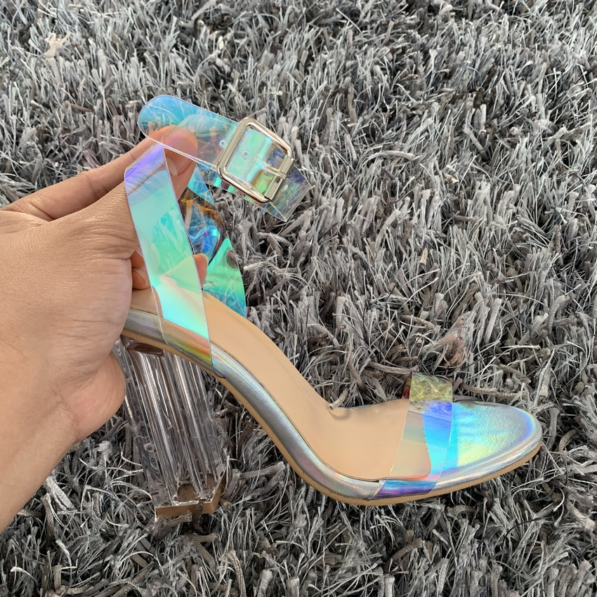 Clear Iridescent Strappy Buckle High Heels Shoes