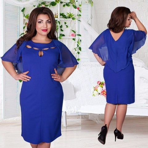 Plus Size L-6XL Hollow out Dress
