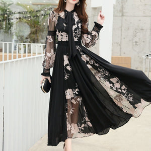 Lantern Sleeve Patchwork Dress
