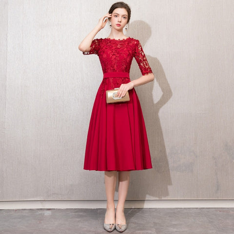 Lace Slim Tea-Length dress
