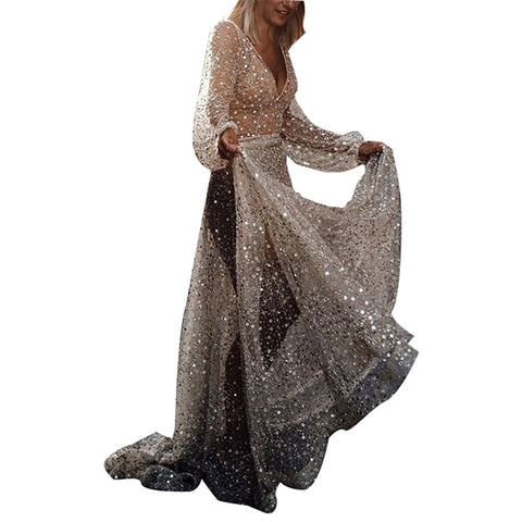 Sheer Sequin Long Sleeve V-Neck Long Dress