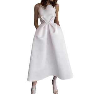 White Swing Pleated Waist Dress