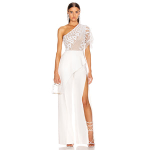 Sexy White One Shoulder Short Sleeve Lace Jumpsuit