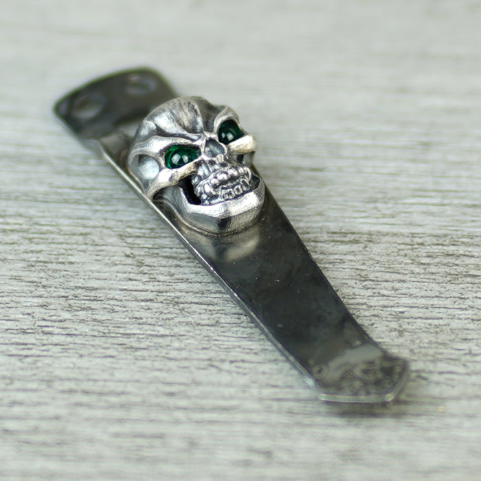 Flashlight Clip - 3D Hardness Skull in Royal Bronze with Emerald Green Eyes