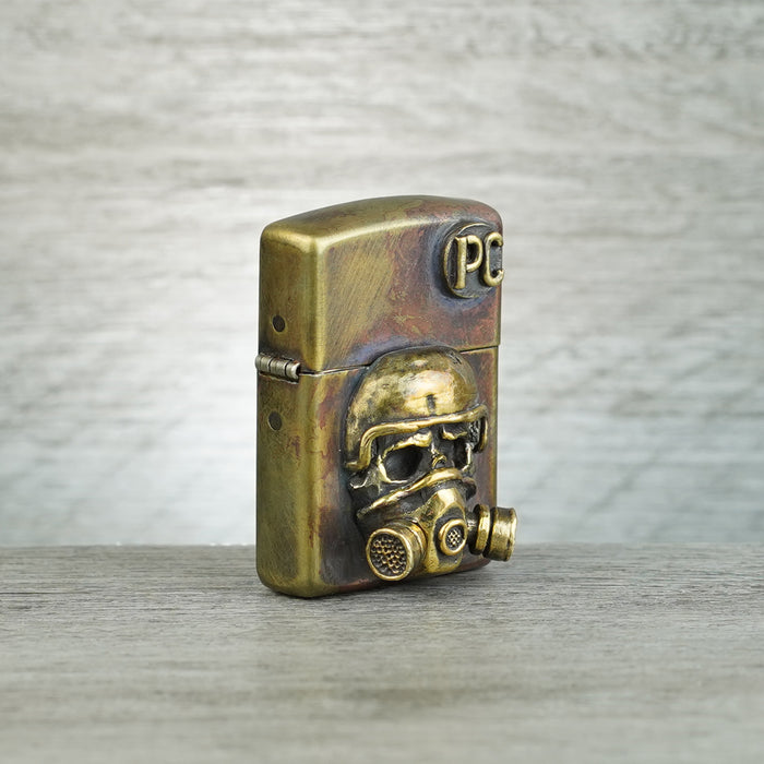 Gas Mask Warrior Lighter - Antique Patina