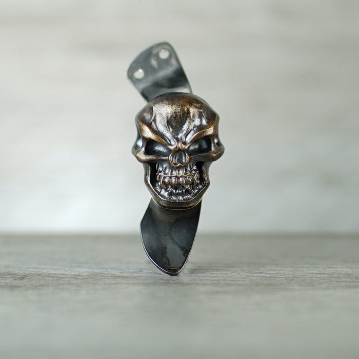 Knife Clip - 3D XL Hardness Skull in Royal Bronze (Burchtree style mounting)
