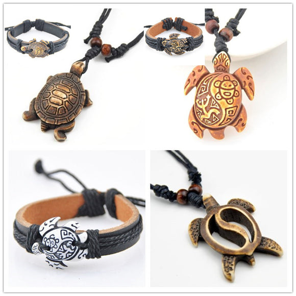 Free + Shipping Hand Carved Sea Turtles Pendant And Bracelet Set - Ombak