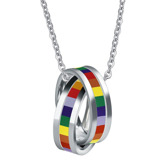 Double Band Rainbow Necklace In Stainless Steel - Ombak