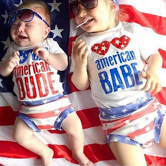 American flag Baby 2pcs Set Top And Shorts - Ombak