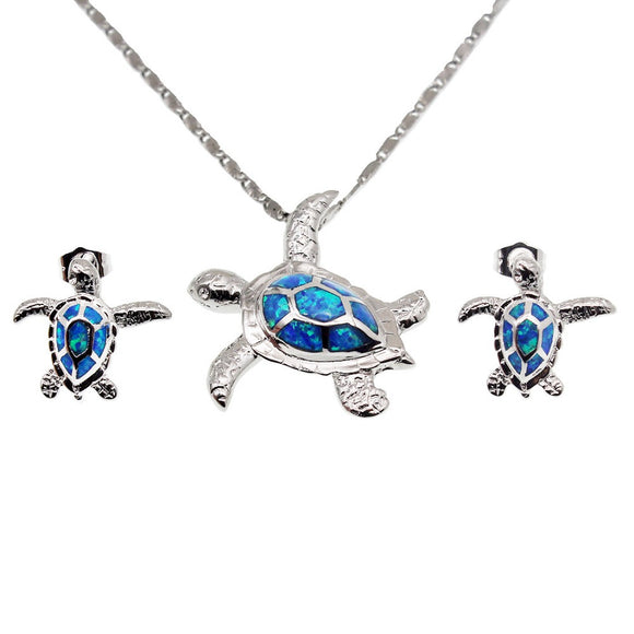 Sterling Silver Australian Opal Sea Turtle Pendant Earring Set