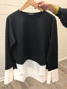Long Sleeve Top W Contrast Bor