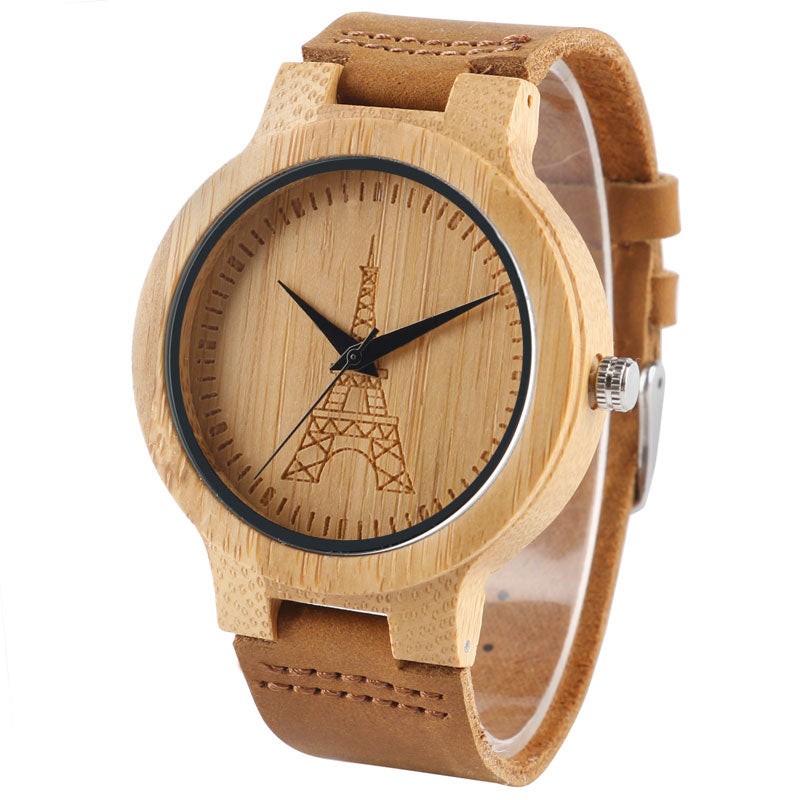 Bamboo watch viewed from different angles - front eiffel towe