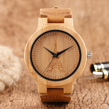 Bamboo watch viewed from different angles - front