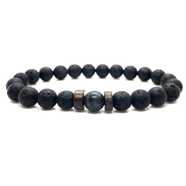 Lava stone Beads With Moonstone Charms
