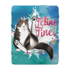 Feline Fine Sherpa Fleece Blanket