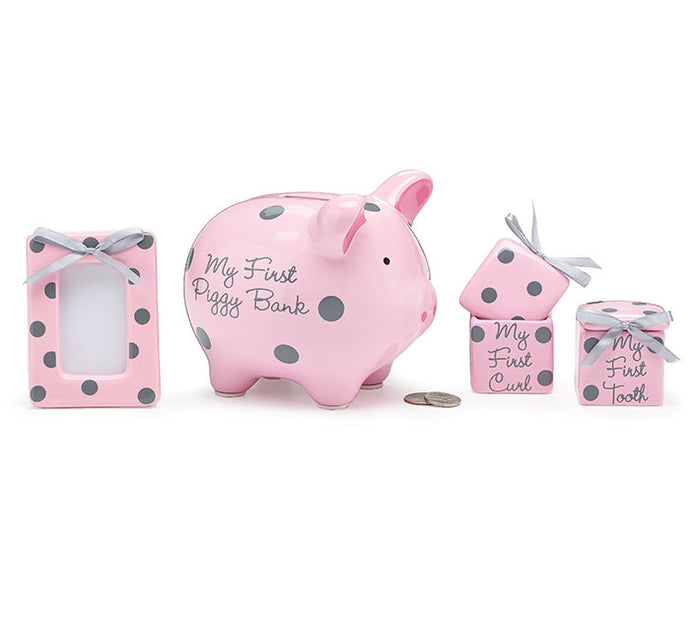 Pink Piggy Bank Gift Set