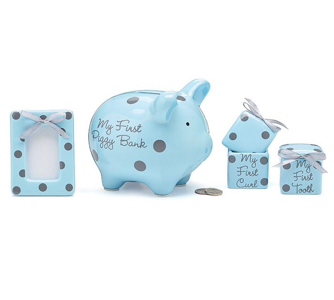 Blue Piggy Bank Gift Set