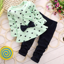 Load image into Gallery viewer, Baby Girl Outfit 2PC Set Heart-Shaped Printed Top with Bow