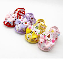Load image into Gallery viewer, Baby Girls Shoes Fun Print, Bow, Soft Sole