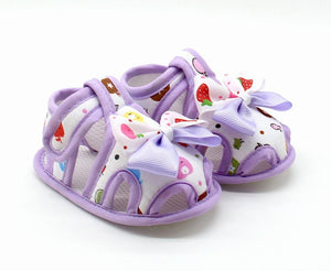 Baby Girls Shoes Fun Print, Bow, Soft Sole