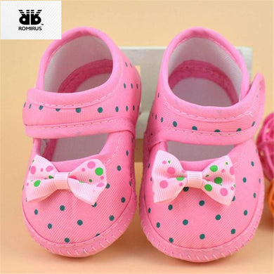 Baby Girl Shoes Pink Polka Dot Soft Soles