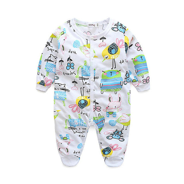 Baby Long Sleeve Cartoon Print  Pajamas, Jumpsuit
