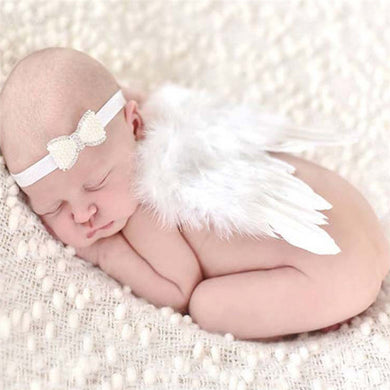 Baby Photo Prop Outfit White Angel Wings Feathered Wings Baby Girl Costume, 0-6 mos