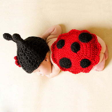 Baby Photo Prop Outfit Crochet Ladybug Design Baby Girl Costume, 0-6 mos