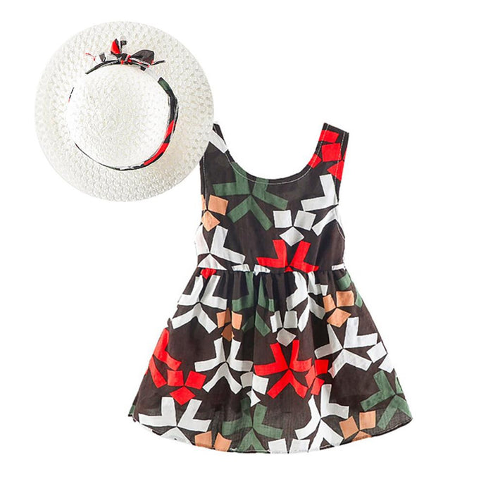 Girls Summer Flower Print Dress with Hat