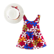 Load image into Gallery viewer, Girls Summer Flower Print Dress with Hat