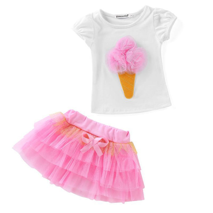 Girls Ice Cream Cone Tutu Skirt Set