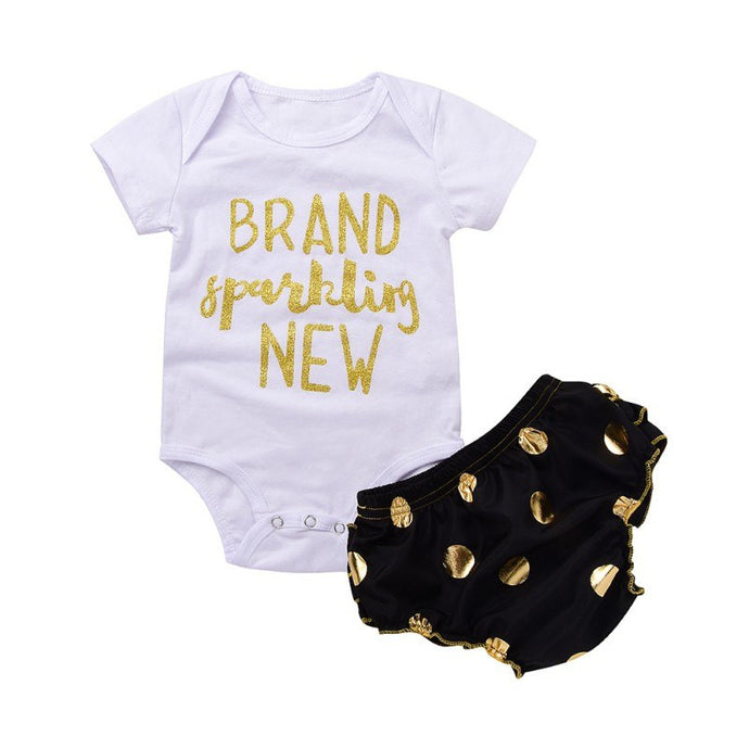Baby Girl Bodysuit and Short Set with Printed Letters 'Brand Sparkling New'