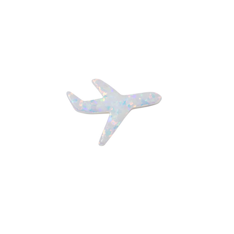 Opal Airplane Pendant, Tiny Opal Jet Plane Charm Size 12.5mmx8.6mm Authentic Lab-created Opal Travel Jewelry Beads, Wholesale, USA Seller