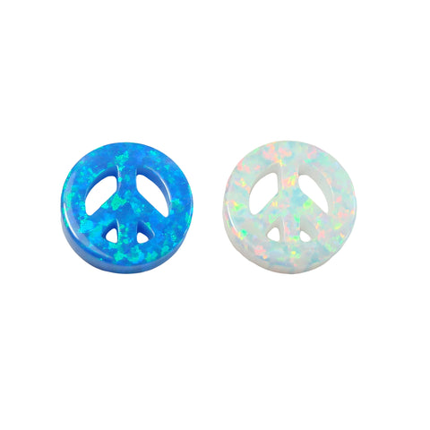 Peace Sign Created Opal Pendant, Peace Symbol 12mm Charm, Synthetic Opal