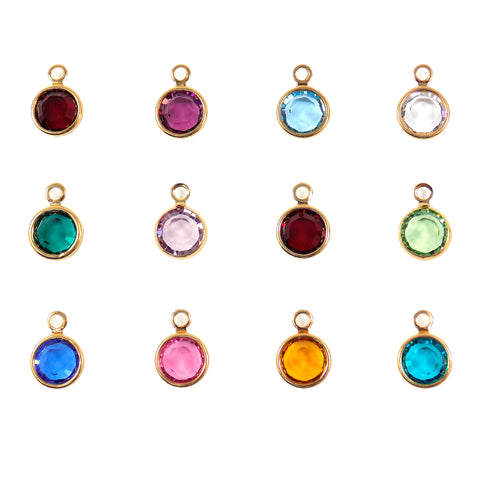 Swarovski Birthstone Crystal Charm, Personalized Jewelry, Gold Plated Birthstone Charms Choose Month or Color. Size 6mm