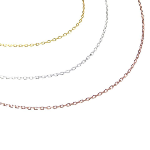 "925 Sterling Silver Cable Chain Necklace 1mm, Gold Plated Chain, Rose Gold Over Sterling Silver, Thin Chain 14"" 16"" 18"" 20"" 22"" and 24"""