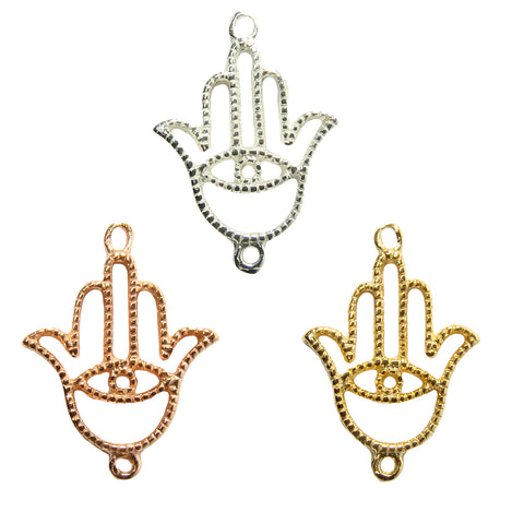 hamsa hand evil eye connector charm