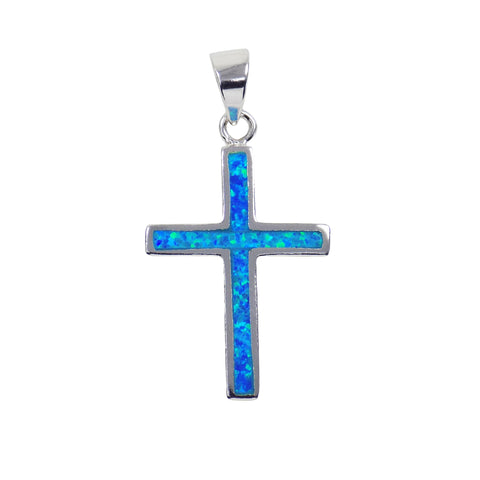 Cross Pendant 925 Sterling Silver Cross Charm, Synthetic Blue Opal Cross Pendant, Opal Supply Jewelry