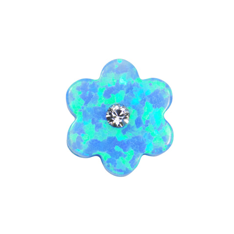 Opal Flower Bead Charm 10mm Synthetic Fire Opal Flower Girl Pendant, Blue 6 Petals Flower with tiny Cz stone.