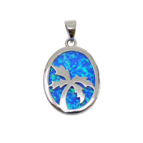 Palm Tree Pendant, Lab-Created Opal Palm Tree Charm, Silver Palm Tree Pendant, Tropical, Beach Pendant, Ocean Jewelry