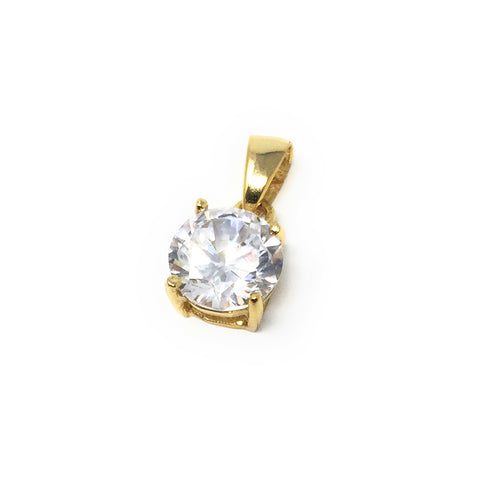 Solitaire Crystal, Simulated Diamond Pendant 8mm, 925 Sterling Silver Gold Plated Clear Crystal Single Bead Charm