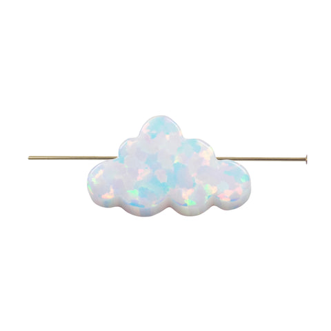 Opal Cloud Charm, White Cloud Bead 7.3mmx12mm Thickness 2.7mm, hole size 1.30mm. Authentic Lab-created Opal Wholesale USA Seller