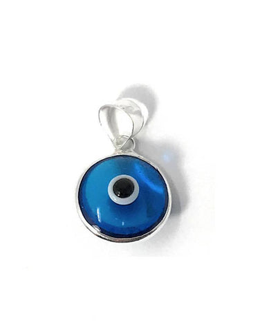 Evil Eye Pendant Turkish Charm Royal Blue/Turquoise Sterling Silver Glass Bead