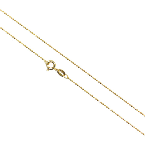 "Gold Plated Chain 1.0 mm, Italian 925 Sterling Silver Gold Plated Dainty Diamond Cut Beads Chain, Thin Bead Chain length 16""/18"""